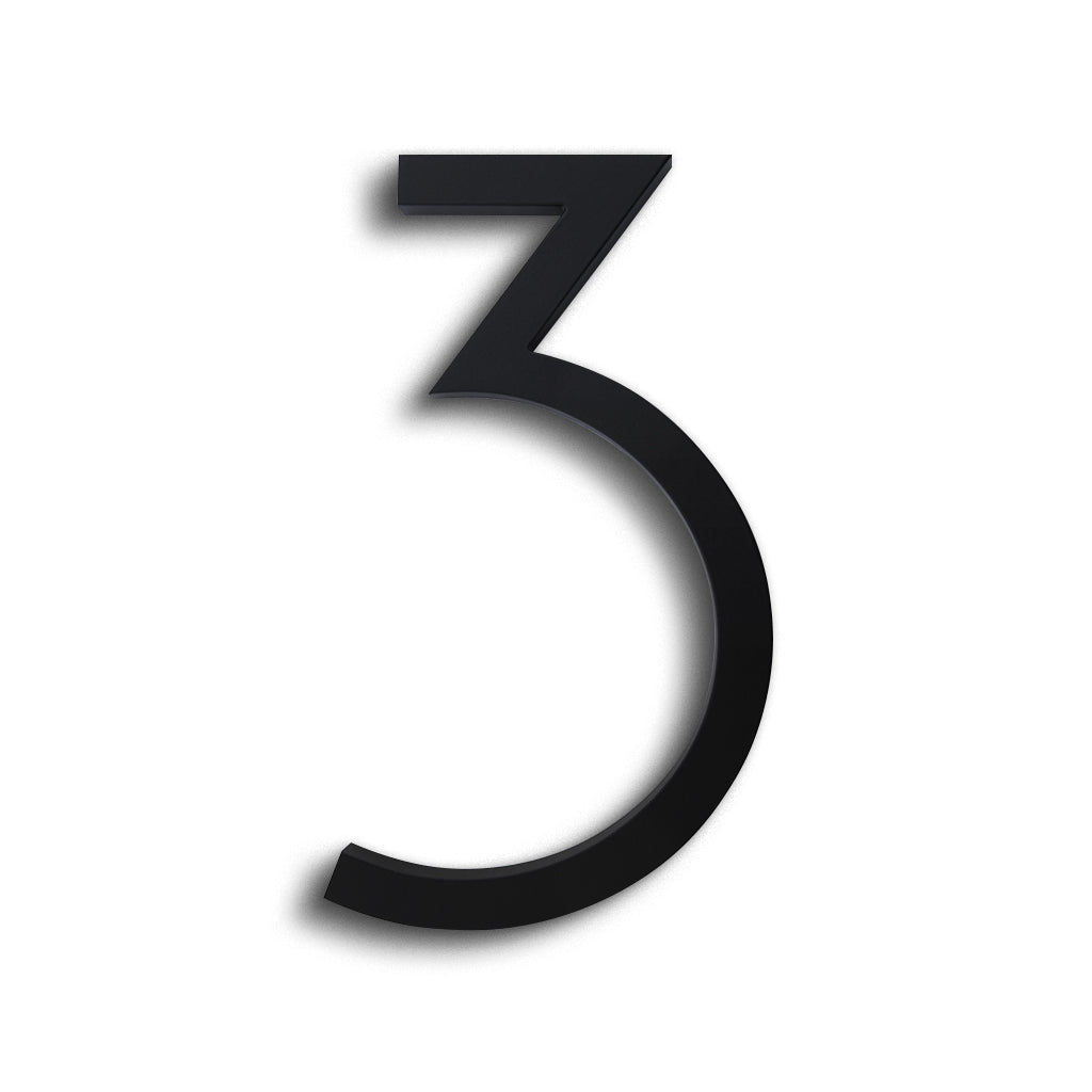 HOUSE NUMBERS CONTEMPORARY IN BLACK 3 THREE