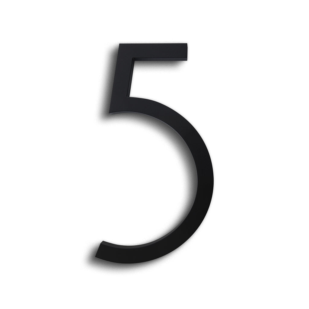 HOUSE NUMBERS CONTEMPORARY IN BLACK 5 FIVE