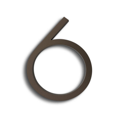 HOUSE NUMBERS CONTEMPORARY IN BRONZE 6 SIX