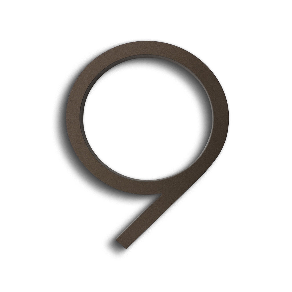 HOUSE NUMBERS CONTEMPORARY IN BRONZE 9 NINE