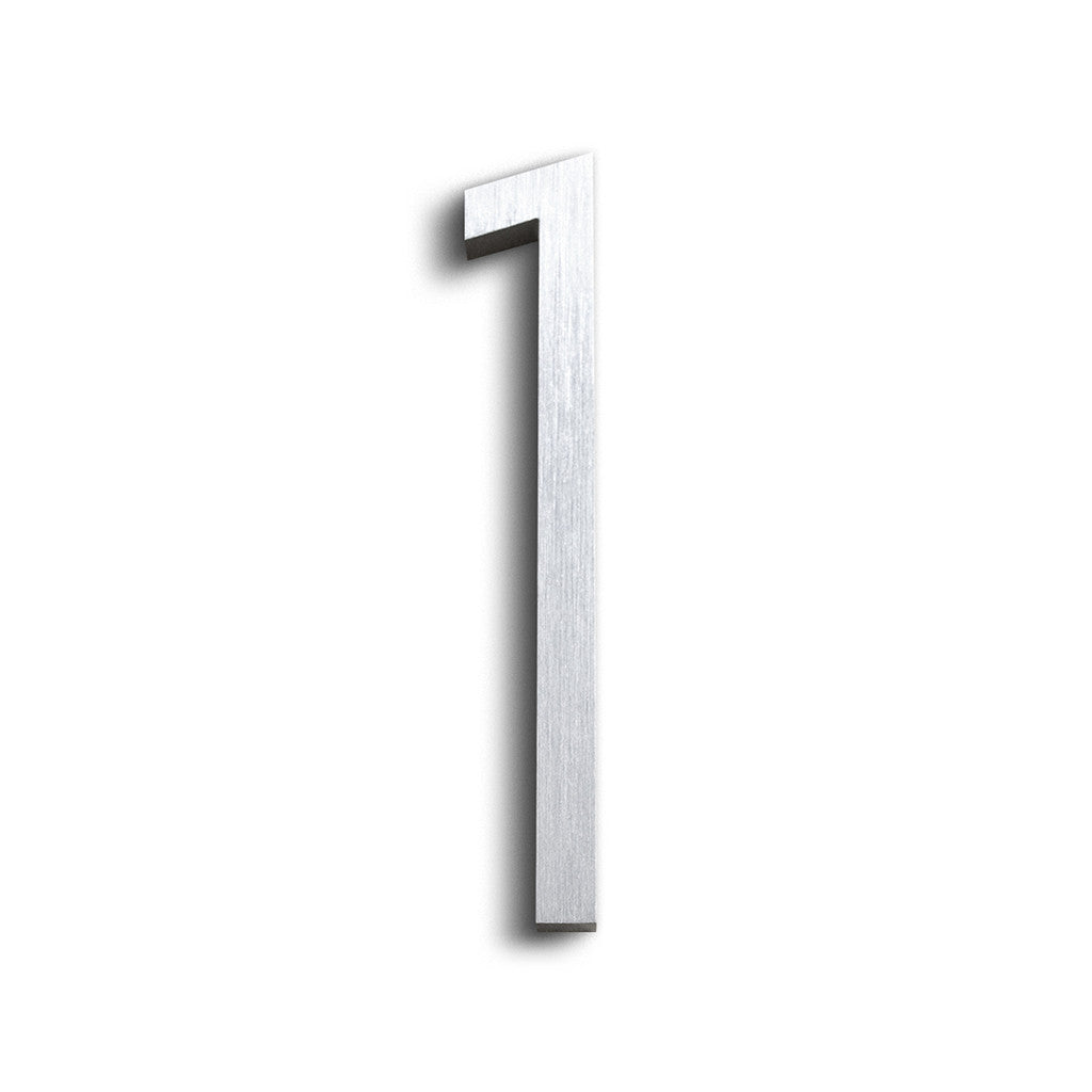 House Numbers Contemporary In Brushed Finish 1 ONE
