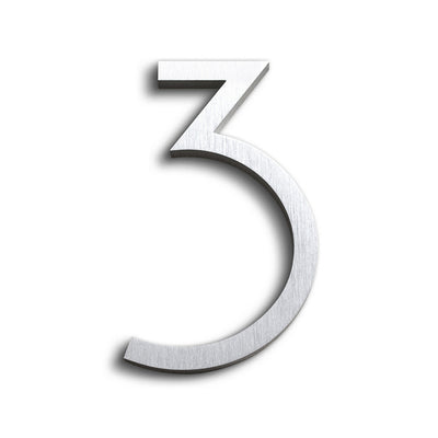 House Numbers Contemporary In Brushed Finish 3 THREE