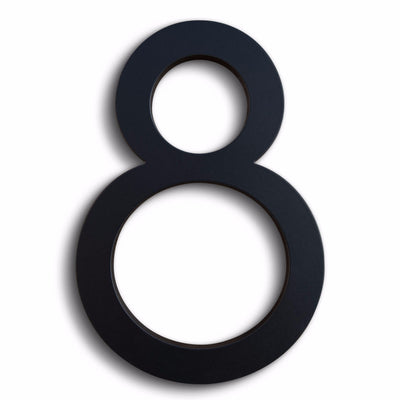 Eight modern house number in black powder coat aluminum.