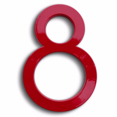 eight modern house numbers in red powder coat aluminum.