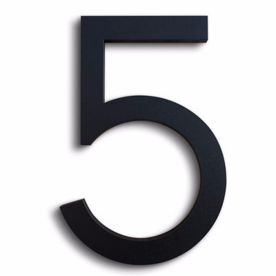House Numbers Modern Font Five 5 Black