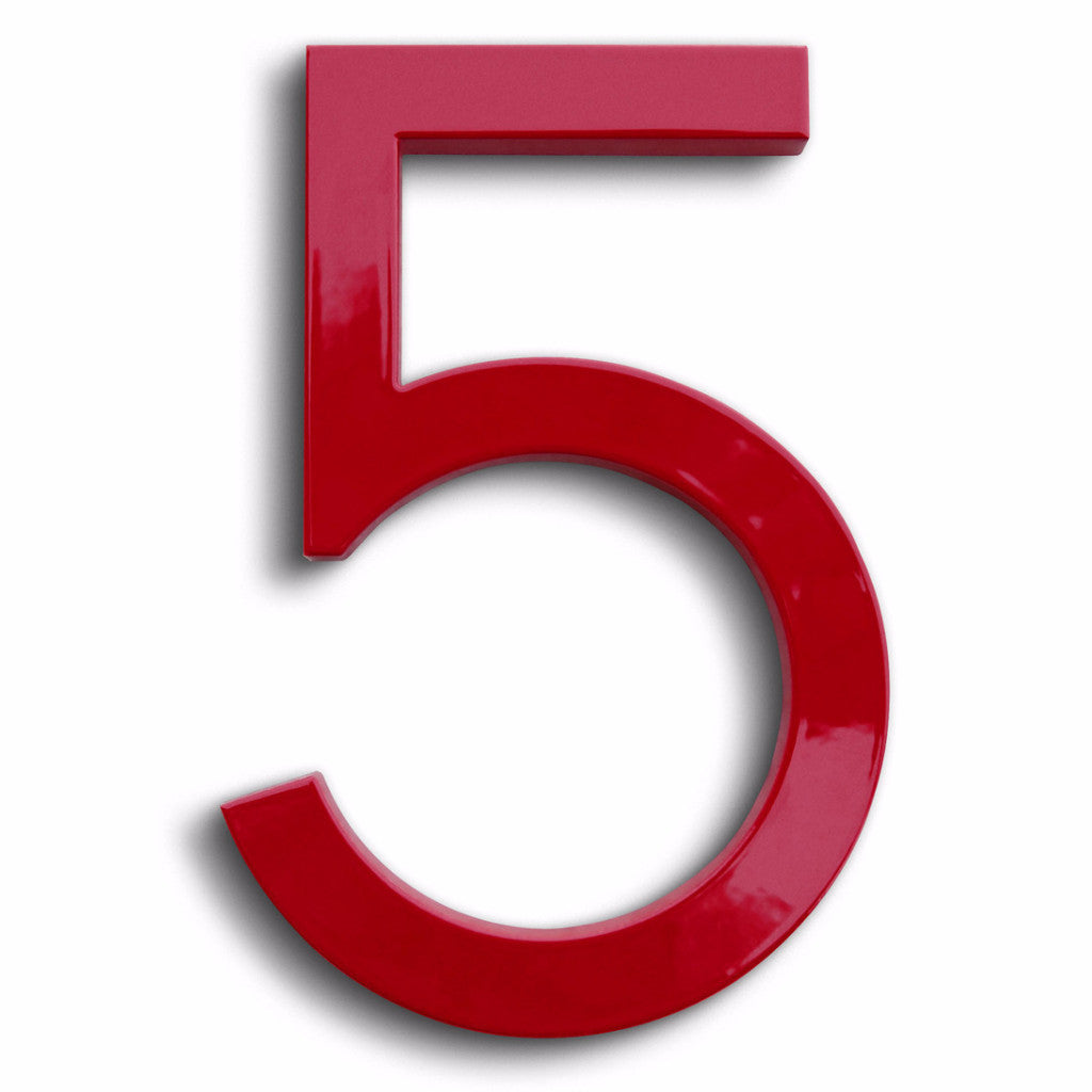 House number modern font 5 five Red floating number