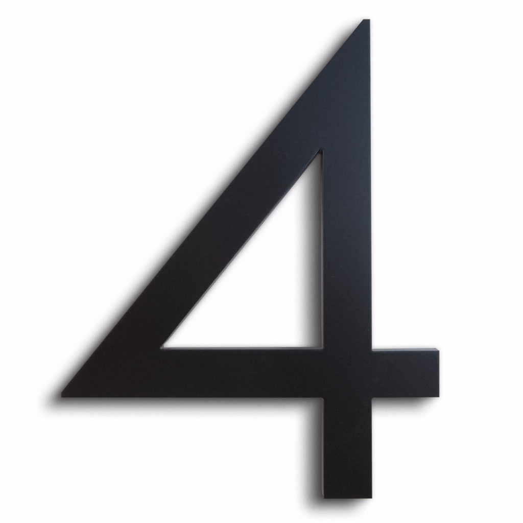Modern House Number 4 Four Black Aluminum Floating