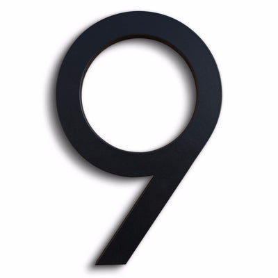House Numbers Modern Font Nine 9 Black