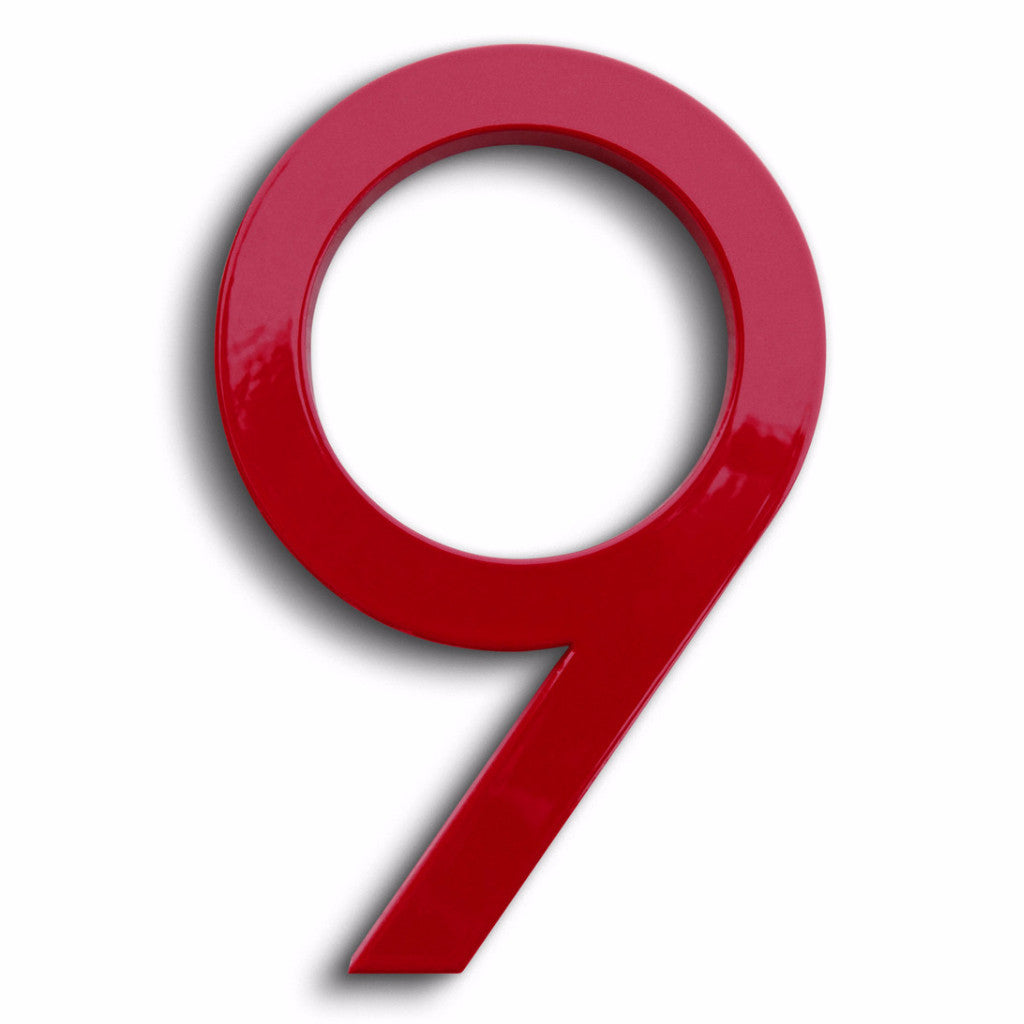 HOUSE NUMBERS MODERN FONT NINE 9 RED