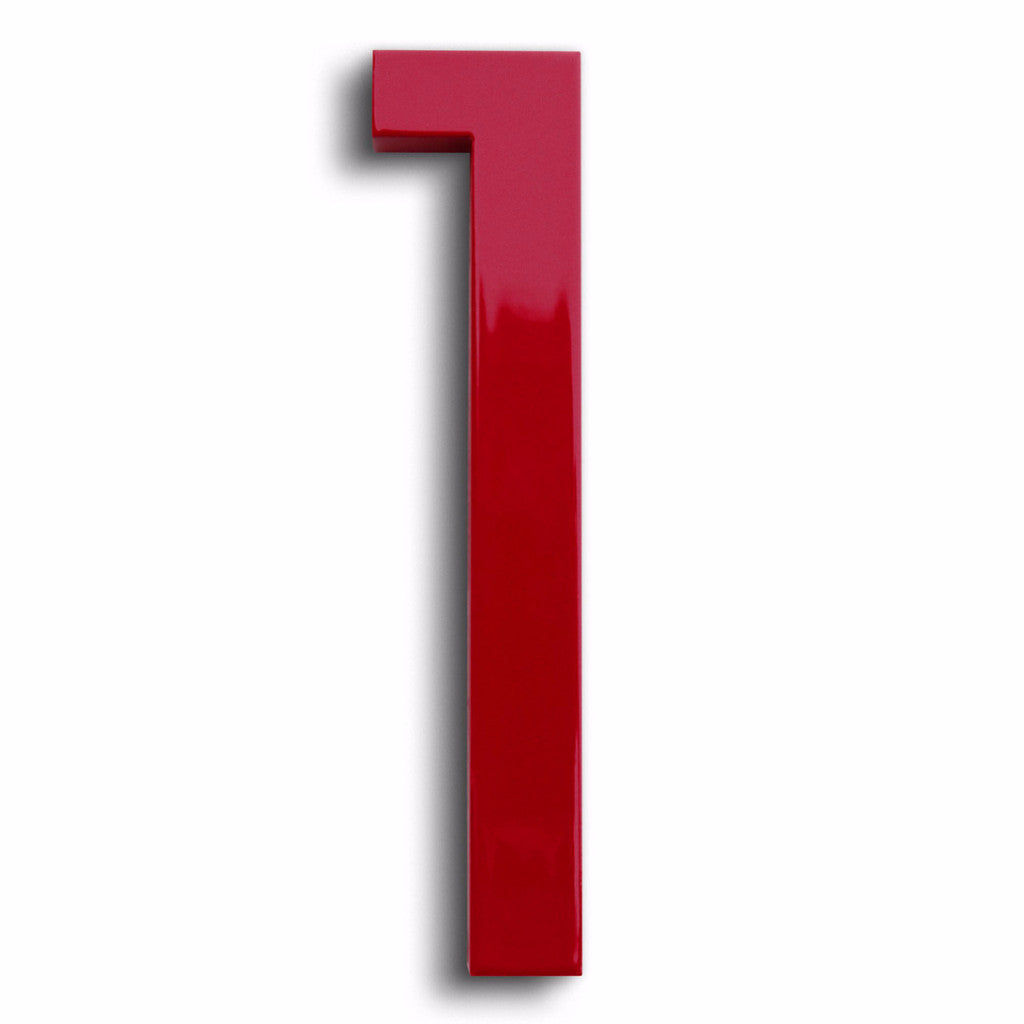 HOUSE NUMBERS MODERN FONT ONE 1 RED
