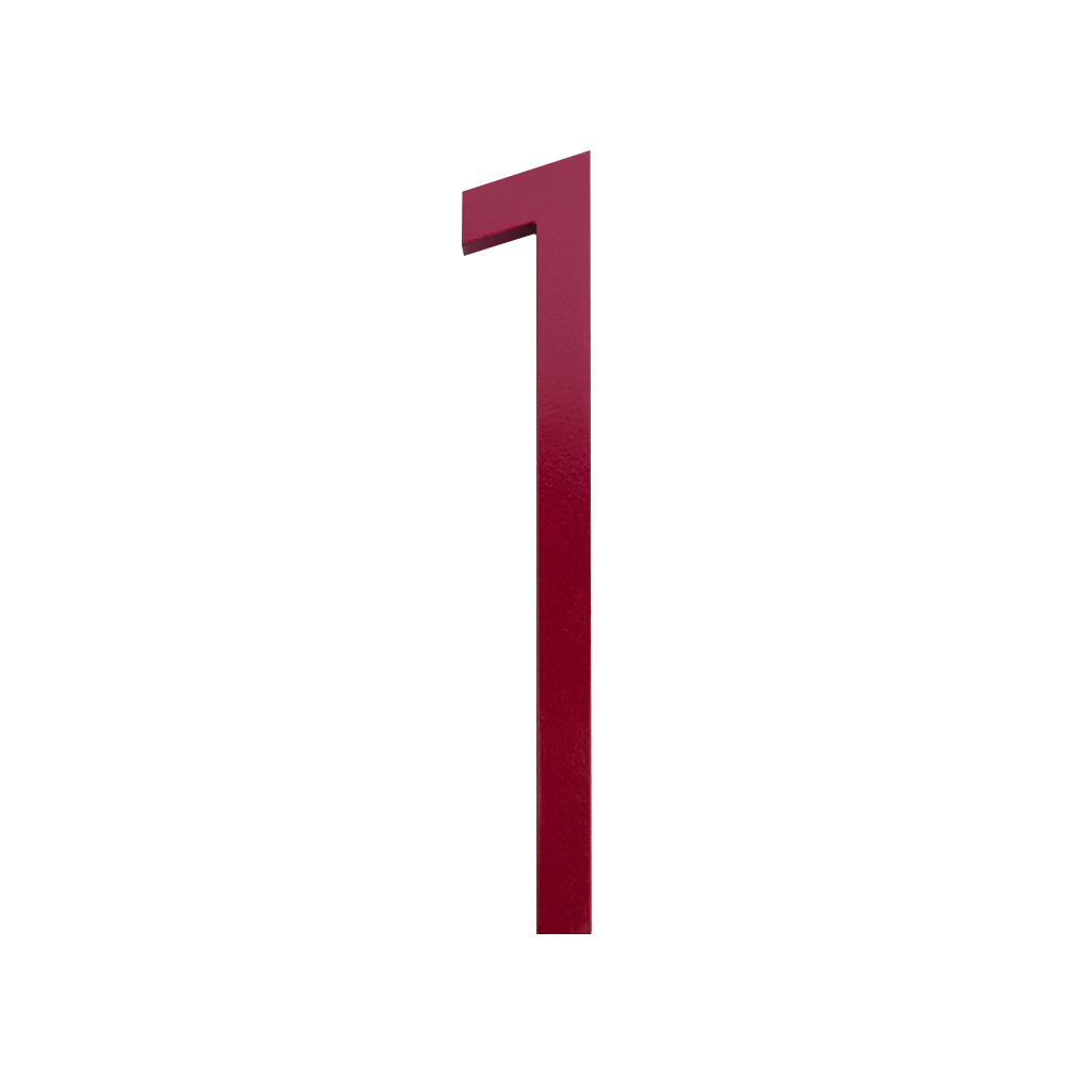 HOUSE NUMBERS CONTEMPORARY IN RED 1 ONE