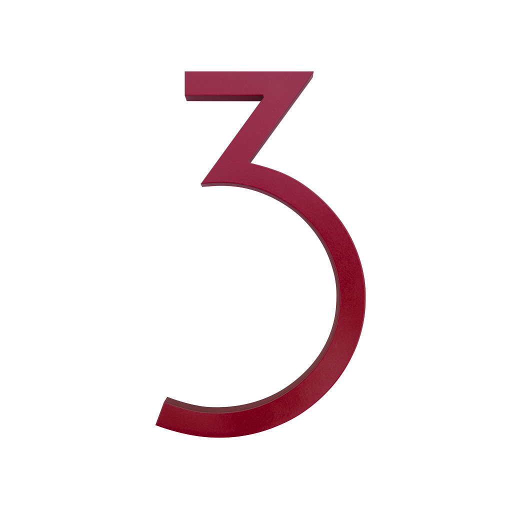 HOUSE NUMBERS CONTEMPORARY IN RED 3 THREE
