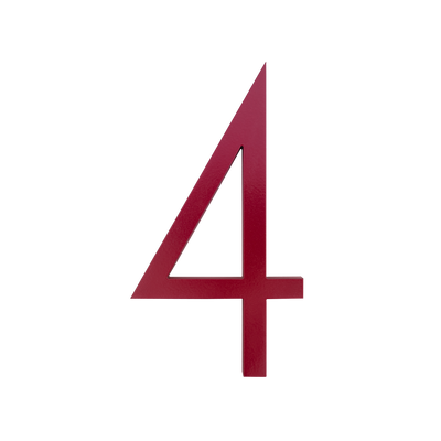 HOUSE NUMBERS CONTEMPORARY IN RED 4 FOUR
