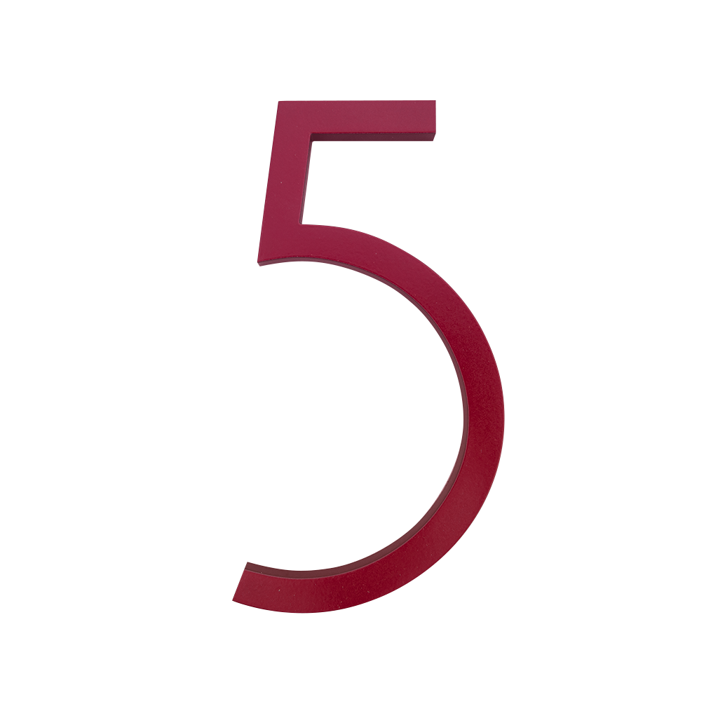 HOUSE NUMBERS CONTEMPORARY IN RED 5 FIVE