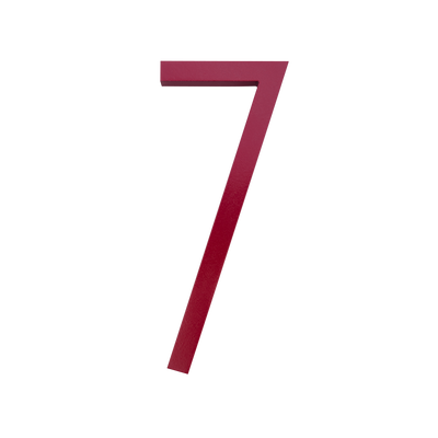 HOUSE NUMBERS CONTEMPORARY IN RED 7 SEVEN