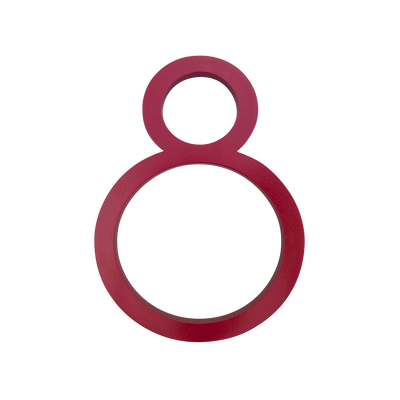 HOUSE NUMBERS CONTEMPORARY IN RED 8 EIGHT