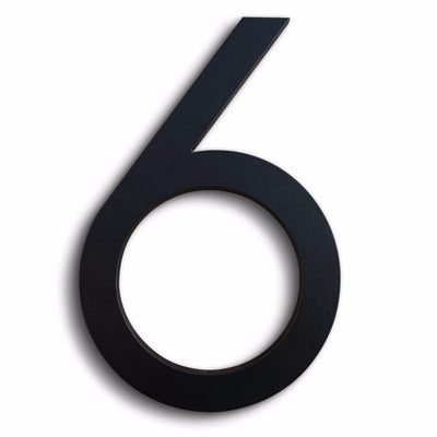 House Numbers Modern Font Six 6 Black