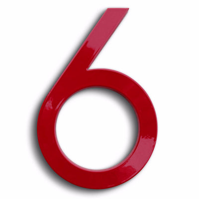 HOUSE NUMBERS MODERN FONT SIX 6 RED ALUMINUM FLOATING