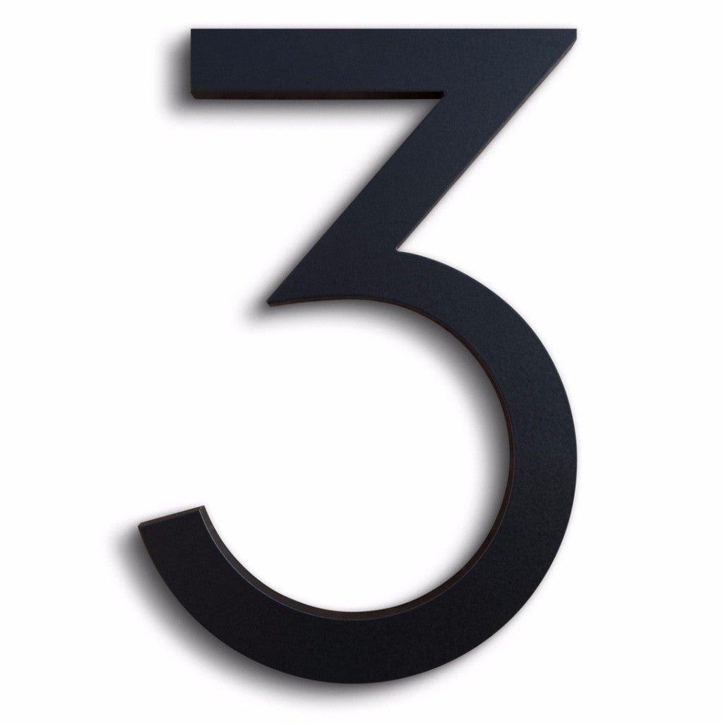 HOUSE NUMBERS MODERN FONT THREE 3 BLACK ALUMINUM FLOATING