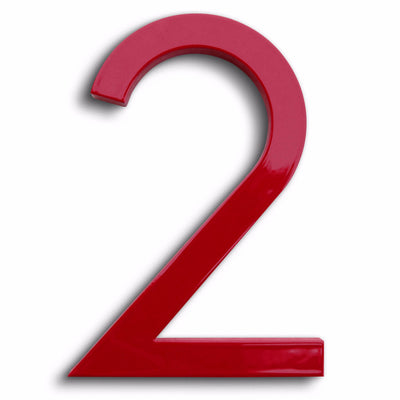 HOUSE NUMBERS MODERN FONT TWO 2 RED ALUMINUM FLOATING
