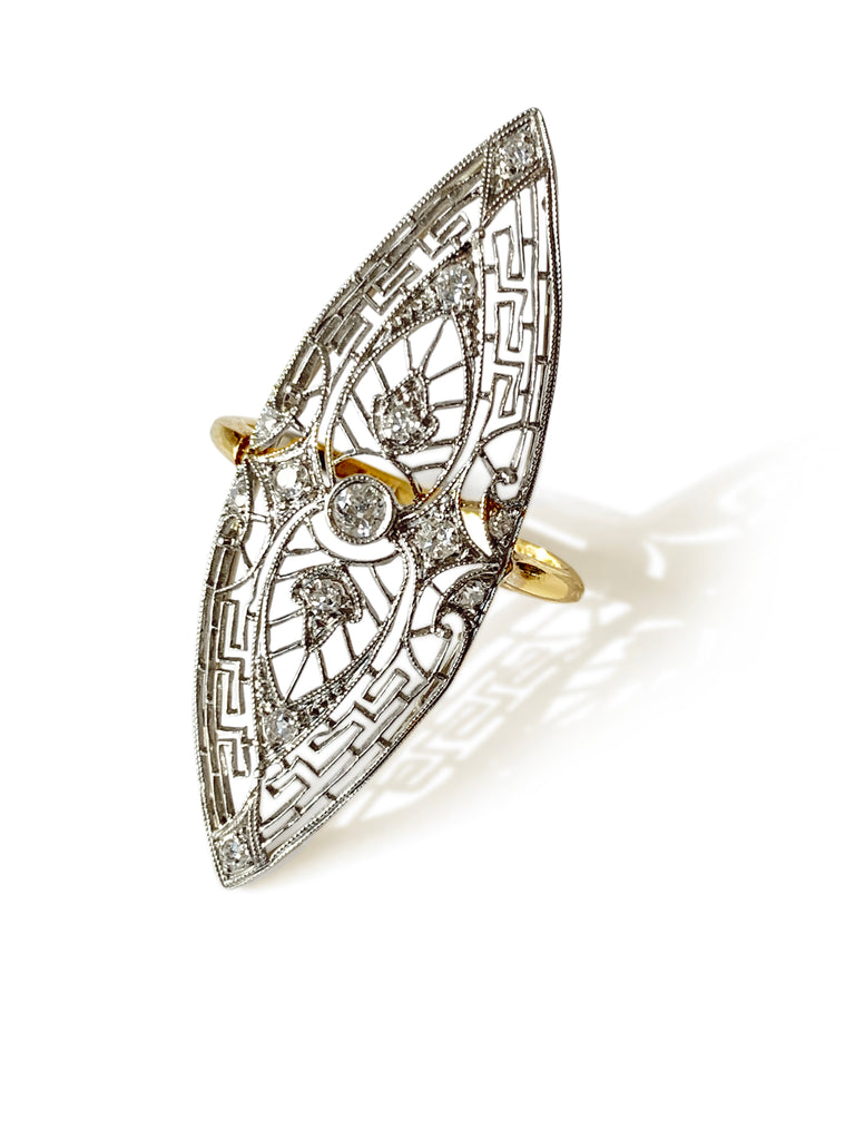 Repurposed 14k White, 10k Yellow Gold & Diamond Marquis Filigree Ring