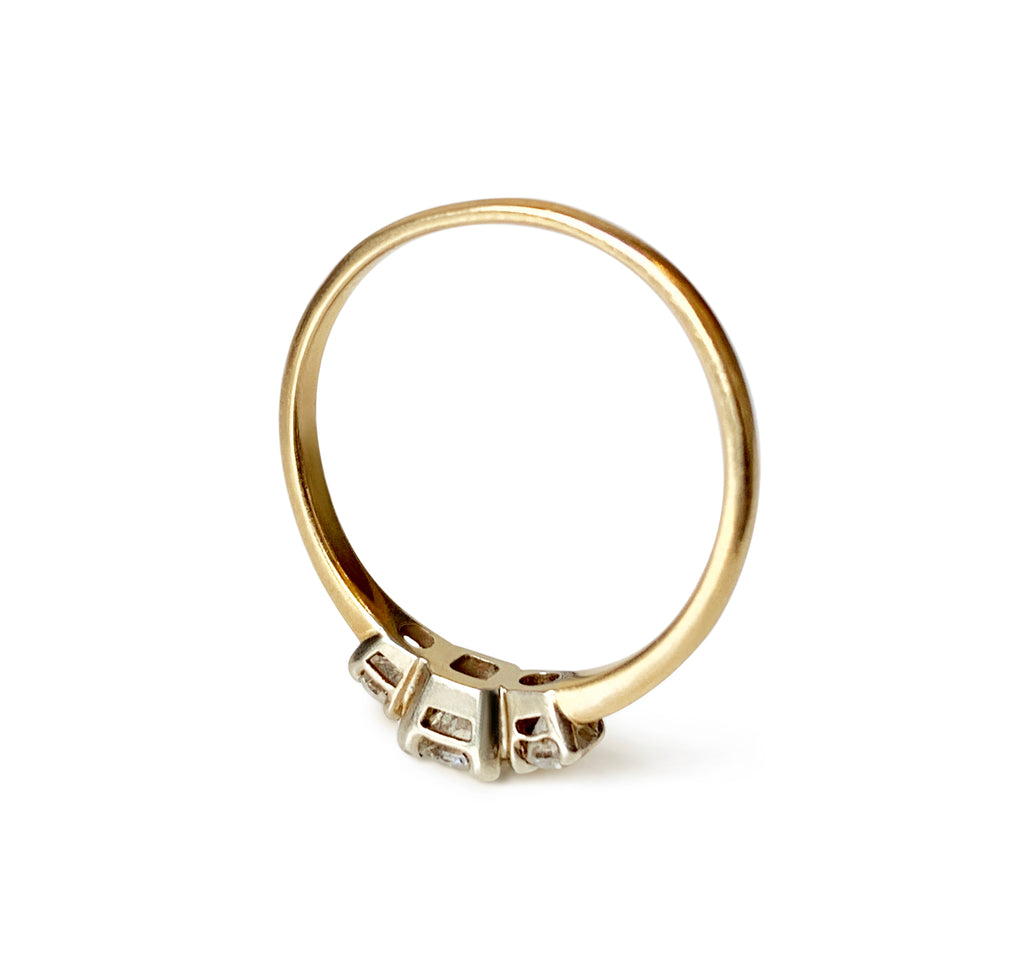 Repurposed 14k Yellow Gold, White Gold and Diamond 3-Stone Ring