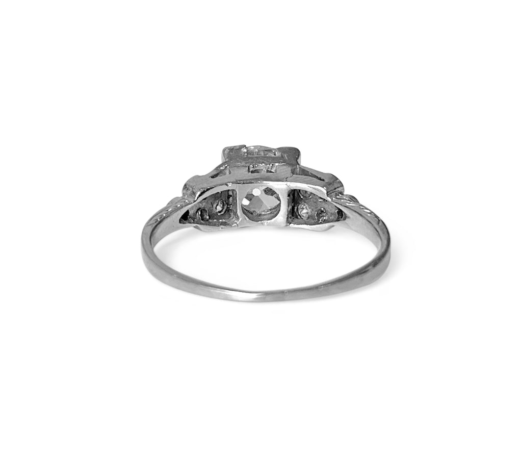 Vintage 3-Stone 14k White Gold & Diamond Ring