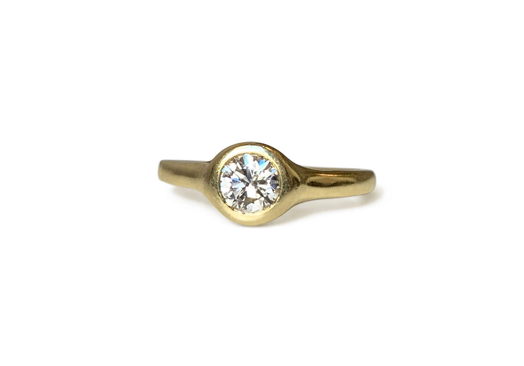 Repurposed 18k Yellow Gold & Diamond Bezel-Set Solitaire