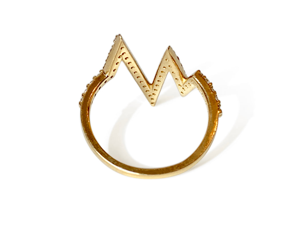 Repurposed 14k Yellow Gold & Diamond Heartbeat Ring