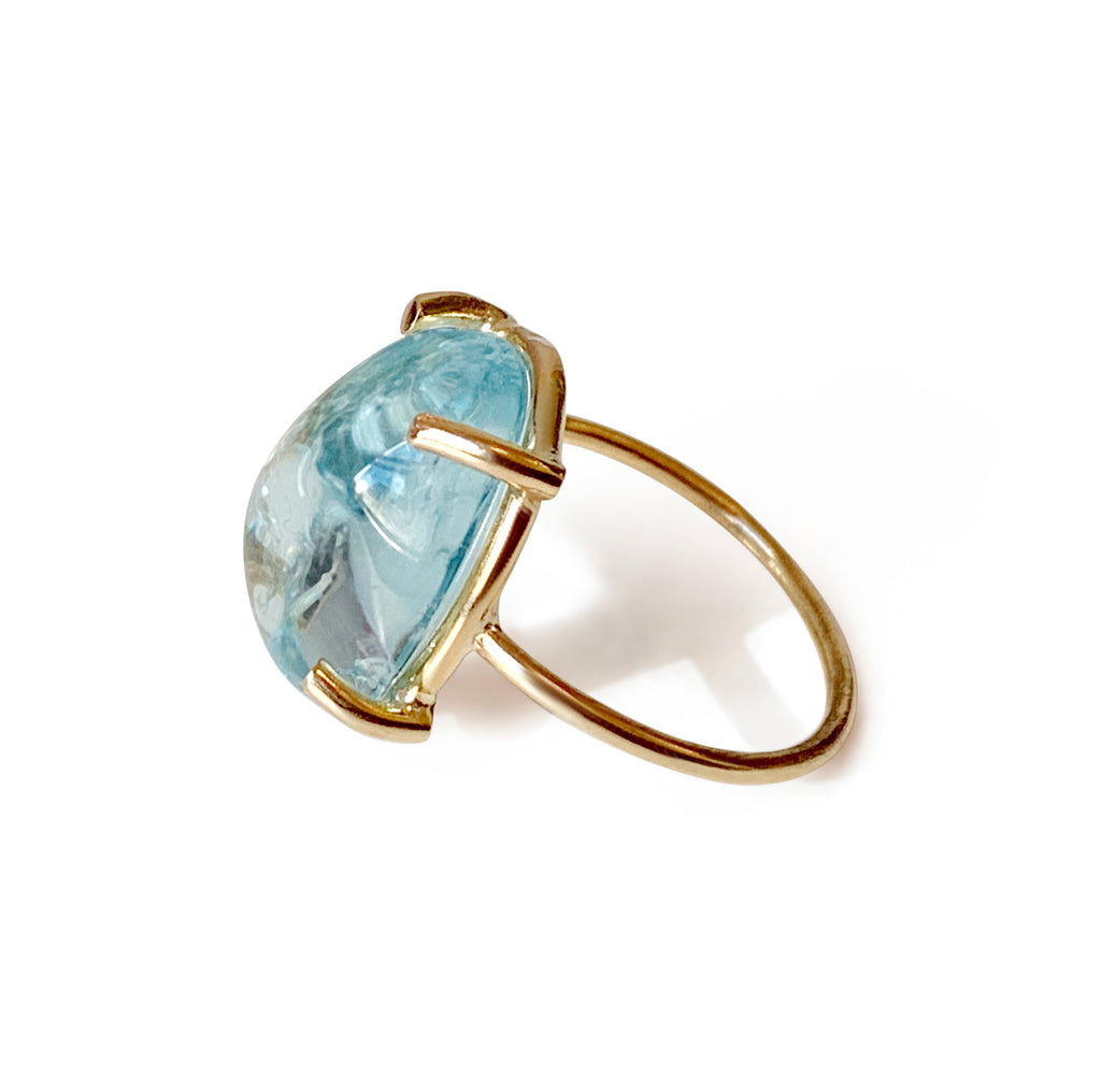 Repurposed 14k Yellow Gold Aquamarine Cabachon Solitaire Ring - Small