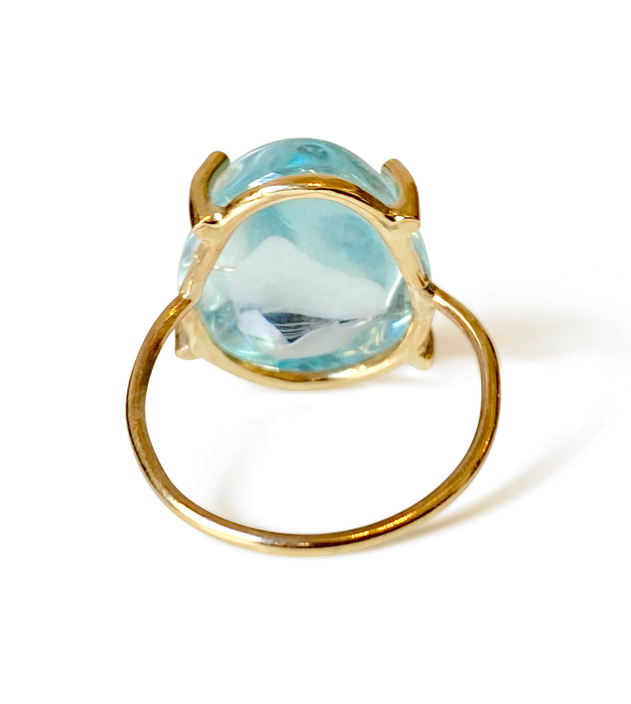 Repurposed 14k Yellow Gold Aquamarine Cabachon Solitaire Ring - Medium