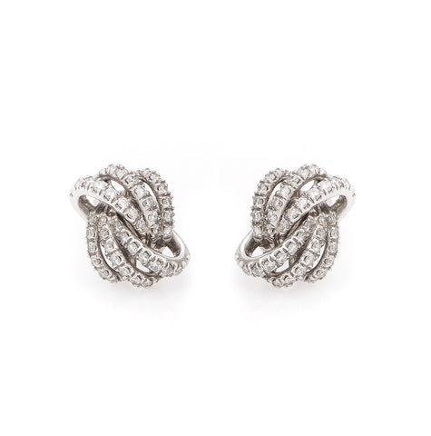 Siren Earrings - Platinum + Diamond Pave