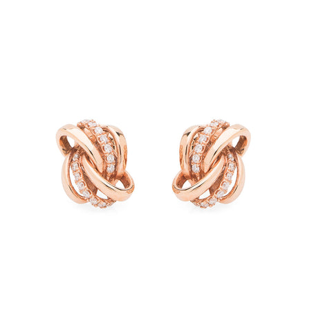 Siren Earrings - Rose Gold + Diamond Pave