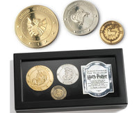 Harry Potter Gringotts Bank Coin Collection 24kt Gold, Silver & Copper Plated 3-pc Set by Noble Collection