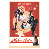 "Fallout 4 Nuka Cola Pin-Up Tin Metal Sign Prop Replica 18"" Tall, 12"" Wide by FanWraps"