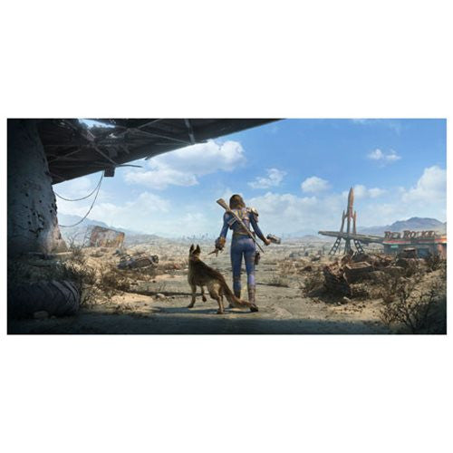 "Fallout 4 Key Art Wall Wrap Poster Dogmeat Female Sole Survivor Panoramic 26"" x 13"" - FanWraps - FanWraps"