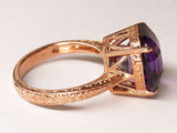 5.83ct Uruguayan Amethyst 18k Rose Gold Solitaire Cocktail Ring