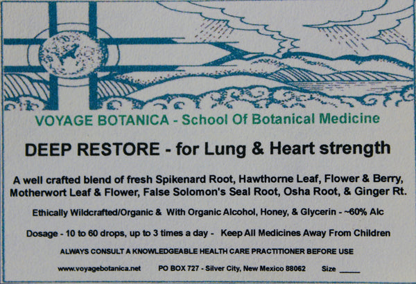 DEEP RESTORE - For LUNG & HEART Strength  - 4 Ounce Size  -  Order zNow! These Will Be Shipped by End Of May/2021!