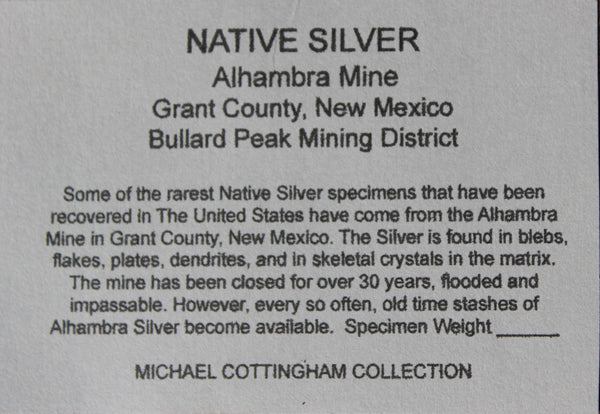 RARE - NATIVE SILVER - Famous Alhambra Mine in New Mexico #1