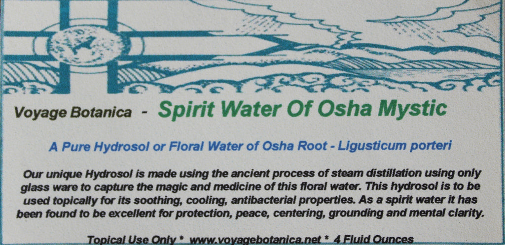 SPIRIT WATER OF OSHA MYSTIC - Pure Hydrosol of Osha Root - Ligusticum porteri - 4 Ounce Size