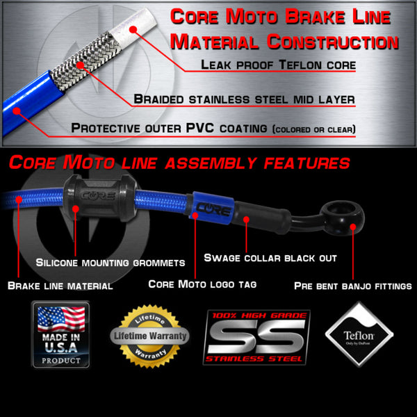 CORE MOTO - Husqvarna Front and Rear Brake Line Combo Kit