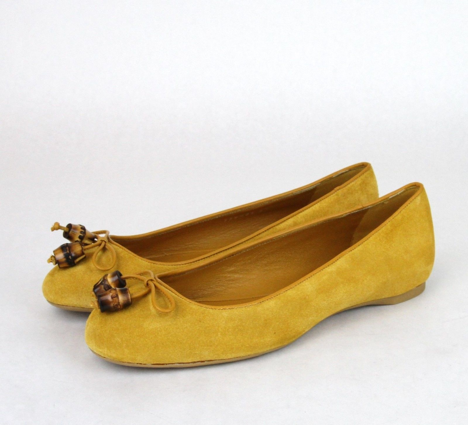 f03fe9e64 New Authentic GUCCI Womens Suede Bamboo Bow Ballet Flat Shoes Size ...