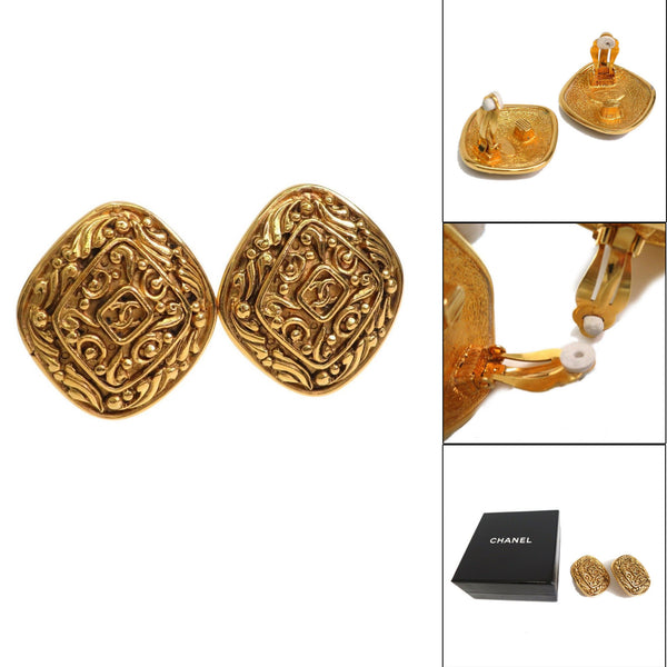 Chanel Vintage Gold Tone Metal Clip-on Earrings w/ Box