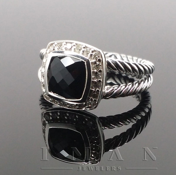 New David Yurman Petite Albion Ring Black Onyx and DIAMONDS - SIZE 5.25