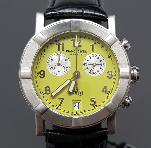 NEW Raymond Weil W1 Parsifal Chronograph Date Lime Dial 35mm Mens Watch