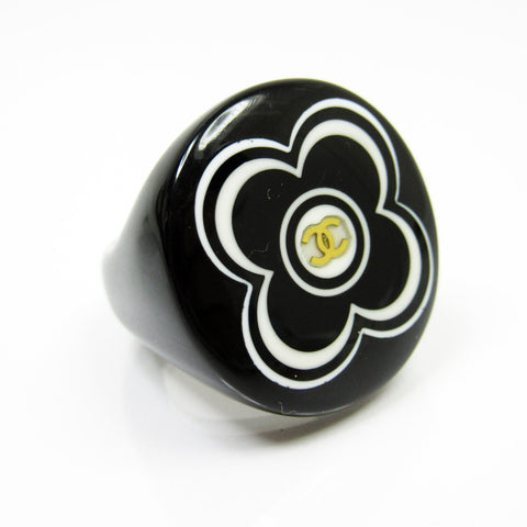 Chanel Plastic Camelia & Coco Mark Ring Size 6