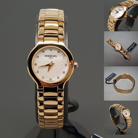NEW $1895 Ladies RAYMOND WEIL Chorus 18K Gold Plated MOP Swarovski Swiss Watch