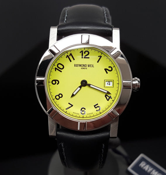NEW $795 Ladies Raymond Weil W1 Date Black/Lime 30mm Swiss Watch 3030