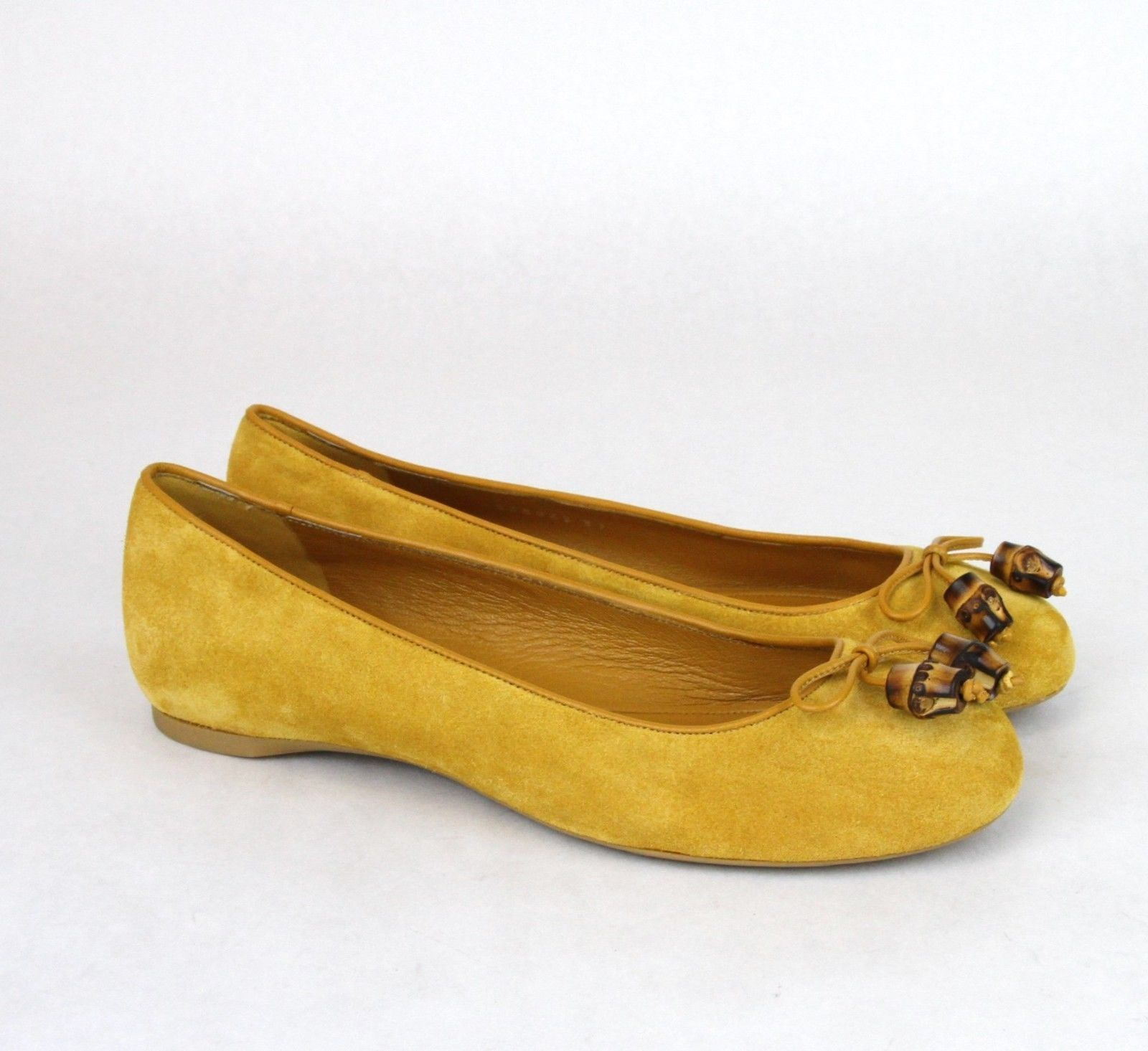 02e227149 ... New Authentic GUCCI Womens Suede Bamboo Bow Ballet Flat Shoes Size US  10 ...