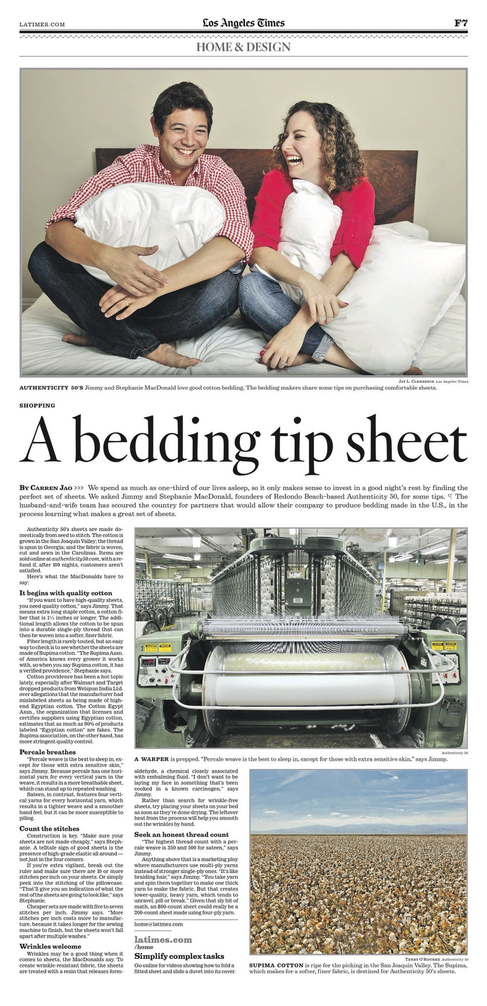 Los Angeles Times loves Authenticity 50 Made in USA Bed Sheets